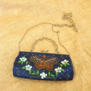 Beaded Butterfly purse with crossbody chain